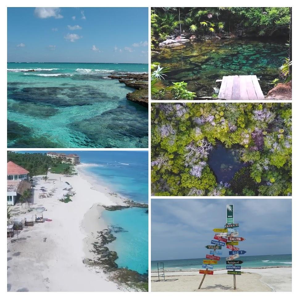 Playa y cenote en caleta Tankah