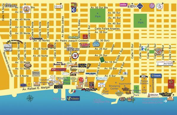 Mapa del centro de Cozumel