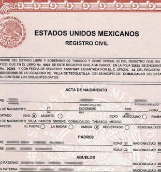 Acta de nacimiento en linea en Quintana Roo