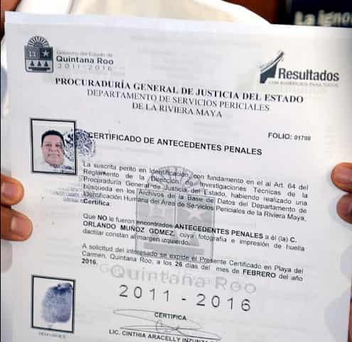 Carta antecedentes no penales playa del carmen